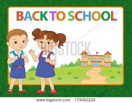 banner back to school boy girl pupil lettering green frame logo vector illustration