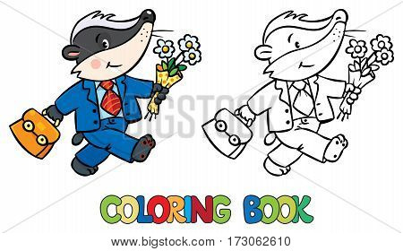 Coloring book of funny little baby badger in suit, with bag and flowers. Children vector illustration