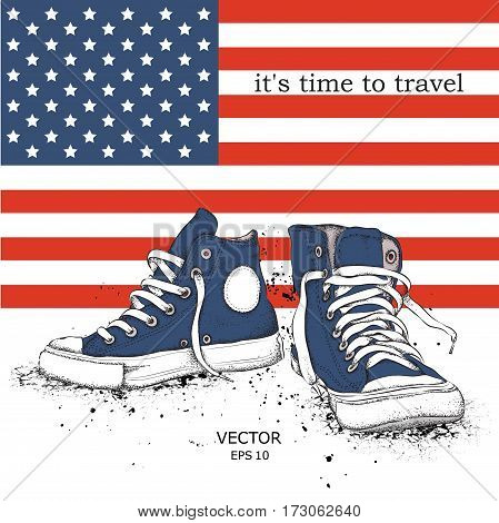 Hand drawn sneakers on background. Print of USA flag. hand drawn vector illustration