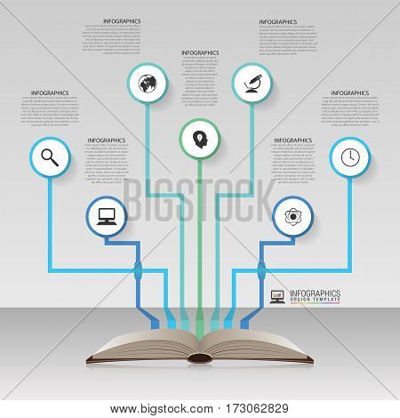 Open book. Infographic design template. Vector illustration
