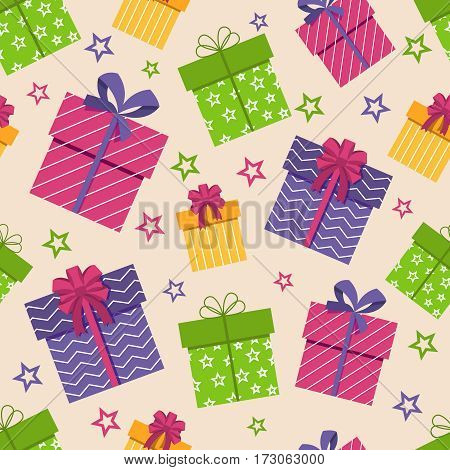 Gift box seamless pattern. Vector boxes with gifts and stars background for texture design. Birthday gift in pattern wrapping illustration