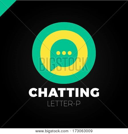 O And P Letter Logo, Speech Bubble Negative Space Volume Vector Icon