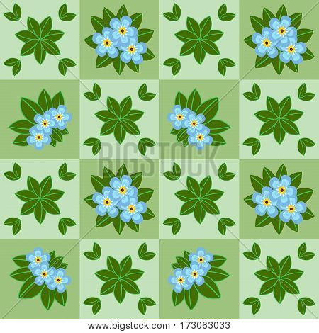 Floral seamless pattern with chamomiles and grass on summer green background. Vector illustration