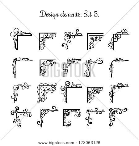 Victorian flourish corners isolated on white background. Vintage vector corner design elements for border ornaments. Decoration corners elegance illustration