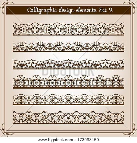 Calligraphic border set. Vector horizontal seamless lace borders. Illustration of flourish web borders collection
