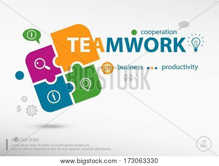 Teamwork Word Cloud Concept On Colorful Jigsaw Puzzle.