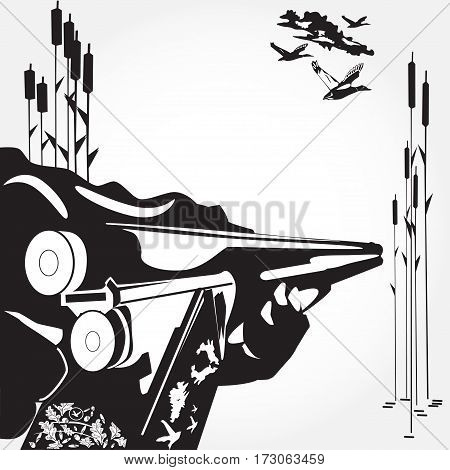 Vector illustration of hunter's hand loading a rifle and flying ducks. Black and white flat style design elements.
