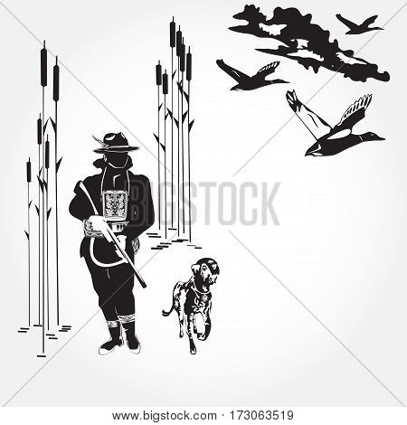 Hunting ducks concept vector illustration. Black and white hunter with hunting dog and ducks isolated. Flat style design elements.