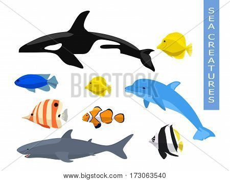 Vector set of sea creatures. Cute animals whale, fish, dolphin, shark. Vector illustration on white background.