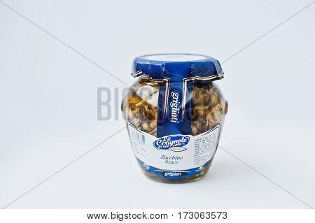 Athens, Greece - February 22, 2017: Italian Grilled Zucchini Pickled In Jar La Cerignola Di Una Volt