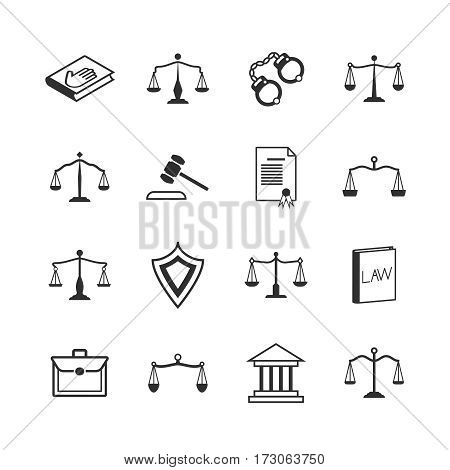 Law and justice icons. Judicial system and verdict, attorney and legislation signs. Legal verdict, decision and tribunal. Vector illustration