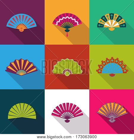 Folding paper chinese hand fan set flat icons vector illustration. Chinese fan with pattern color decoration