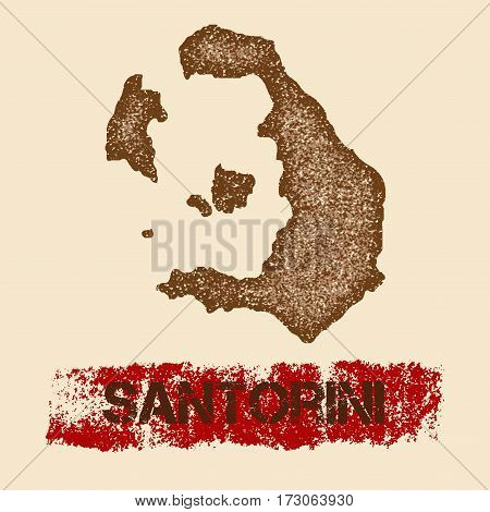 Santorini Distressed Map. Grunge Patriotic Poster With Textured Island Ink Stamp And Roller Paint Ma