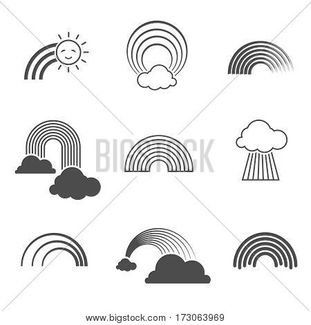 Vector black and white rainbow icons. Summer rainbows signs isolated on white background. Rainbow with sun and cloud illustration