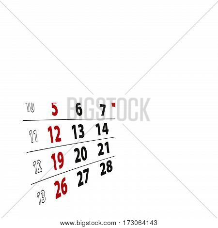 March 1 highlighted on 2017 calendar. Vector Illustration.
