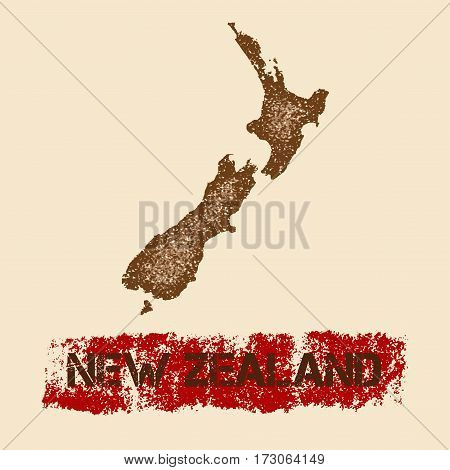 New Zealand Distressed Map. Grunge Patriotic Poster With Textured Country Ink Stamp And Roller Paint