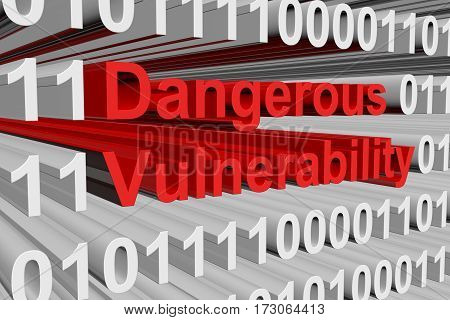 dangerous vulnerability is presented in the form of binary code 3d illustration