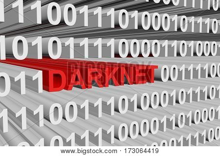darknet is presented in the form of binary code 3d illustration
