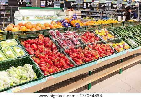 SAMARA RUSSIA - JANUARY 2 2017: Fresh vegetables and fruits ready for sale in supermarket Lenta. One of largest retailer in Russia