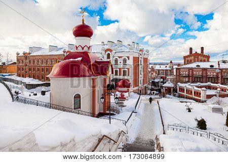 SAMARA RUSSIA - FEBRUARY 19 2017: Russian orthodox church. Iversky monastery in winter day