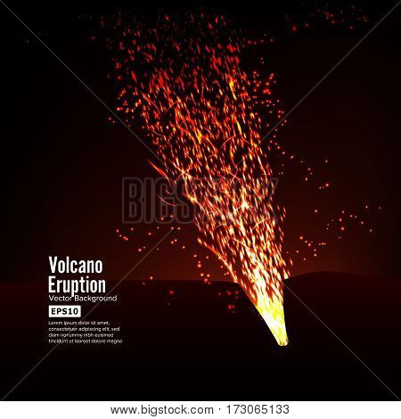 Eruption Volcano Vector. Thunderstorm Sparks. Big And Heavy Explosion From The Mountain. Spewing Glowing Red Hot Lava