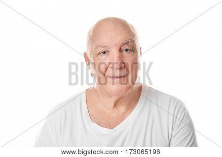 Bald senior man on white background