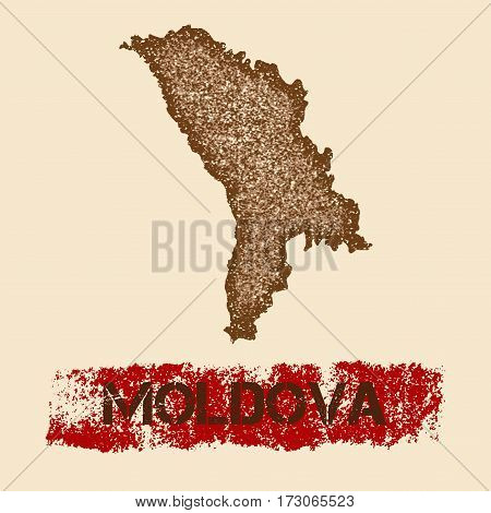 Moldova Distressed Map. Grunge Patriotic Poster With Textured Country Ink Stamp And Roller Paint Mar