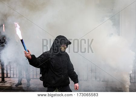 Nationalist Groups Burn Flares During March Of Dignity In Kiev