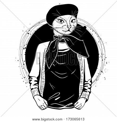 Vector elegant woman with cats had with beret and scarf monochrome