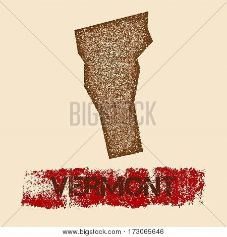 Vermont Distressed Map. Grunge Patriotic Poster With Textured State Ink Stamp And Roller Paint Mark,
