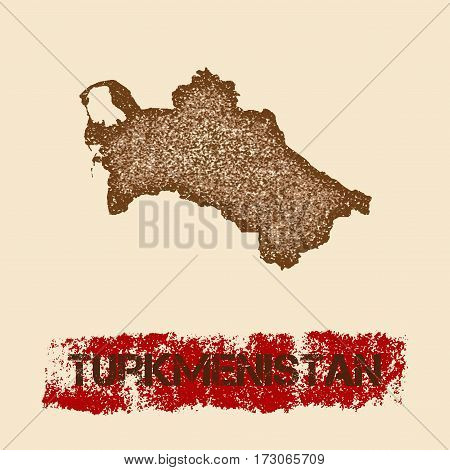 Turkmenistan Distressed Map. Grunge Patriotic Poster With Textured Country Ink Stamp And Roller Pain