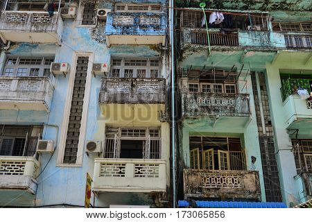Old Buildings At Downtown In Yangon, Myanmar