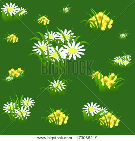 Floral seamless pattern with chamomiles yellow flowers and grass on light green background. Vector illustration