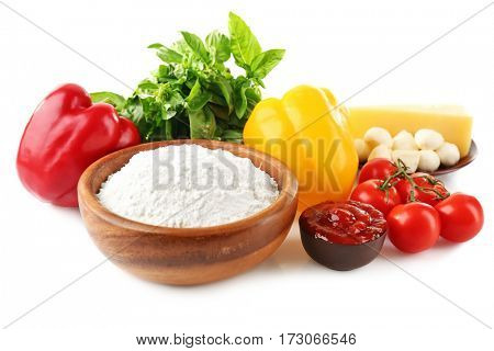 Ingredients for pizza on white background