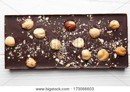 Dark chocolate with nuts, closeup