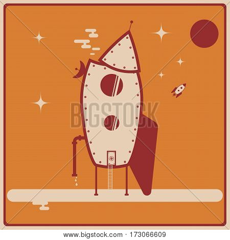 Vector illustration of futuristic house made from space rocket. Image on the ogange background.