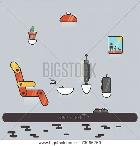 Vector illustration of futuristic living room. Flat image with hovering furniture on the grey background.
