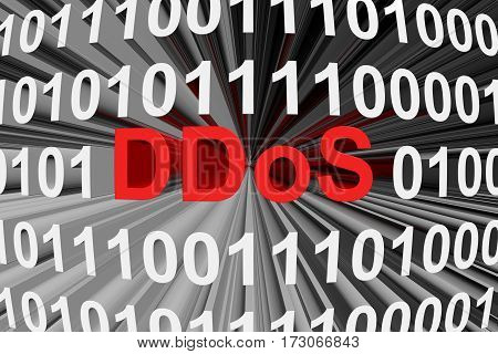 ddos is presented in the form of binary code 3d illustration
