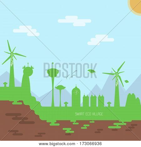 Vector futuristic smart village illustration. Flat image of ecological concept.
