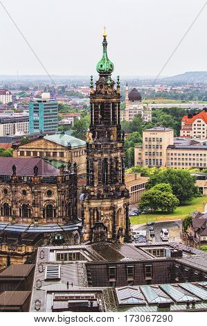DRESDEN GERMANY - JUNE 7: View of Dresden from the observation tower in rainy weather at June 7 2012