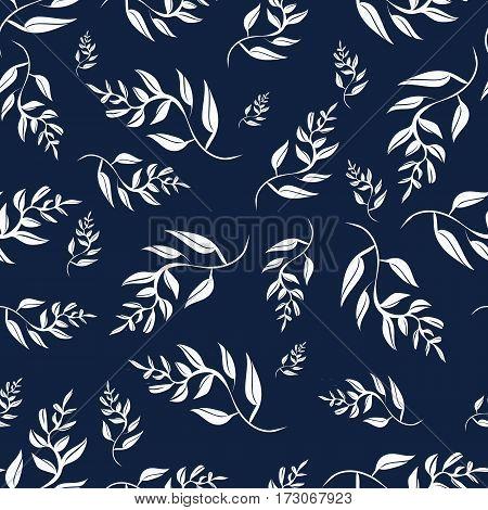 White leaves on blue background seamless pattern for design vector illustration EPS10