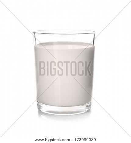 Glass of milk on white background