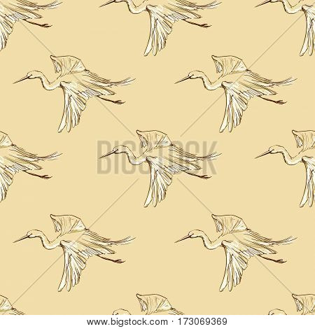 background seamless pattern Heron, bird sketch pattern