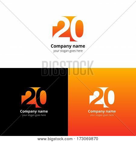 20 logo icon flat and vector design template. Monogram years numbers two and zero. Logotype twenty with orange gradient color. Creative vision concept logo, elements, sign, symbol for card, brand.
