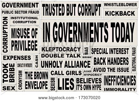 A collage of all the usual headline words associated with any government anywhere.
