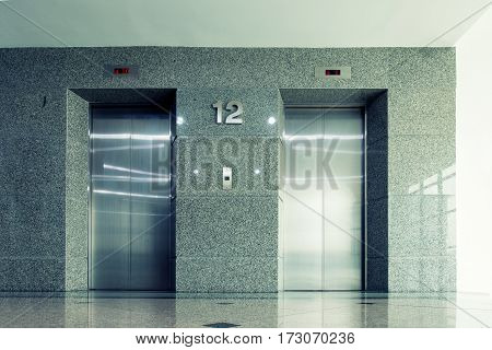An elevator with sunshade in department store Interior.