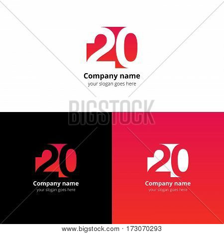 20 logo icon flat and vector design template. Monogram years numbers two and zero. Logotype twenty with red-pink gradient color. Creative vision concept logo, elements, sign, symbol for card, brand.