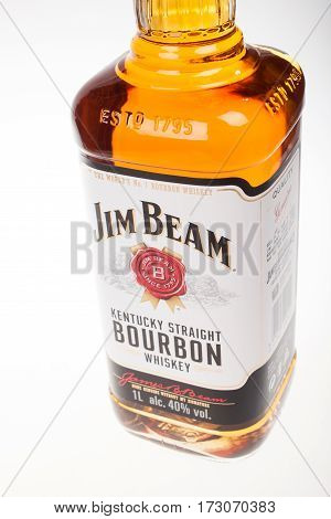 VARNA BULGARIA - AUGUST 17.2016: Close up bottle of Jim Beam Bourbon. Jim Beam is an American brand of bourbon whiskey produced in Clermont Kentucky.