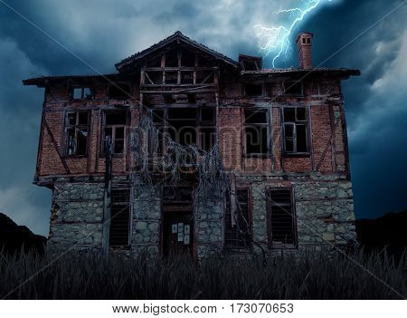 bad weather and creepy haunted old house