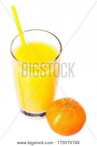 Mandarin juice in glass with straw and mandarin fruits on white background